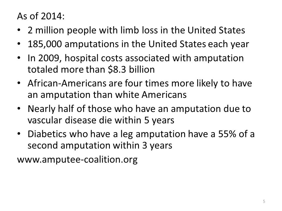As of 2014: 2 million people with limb loss in the United States 185,000 amputations in the United States each year In 2009, hospital costs associated
