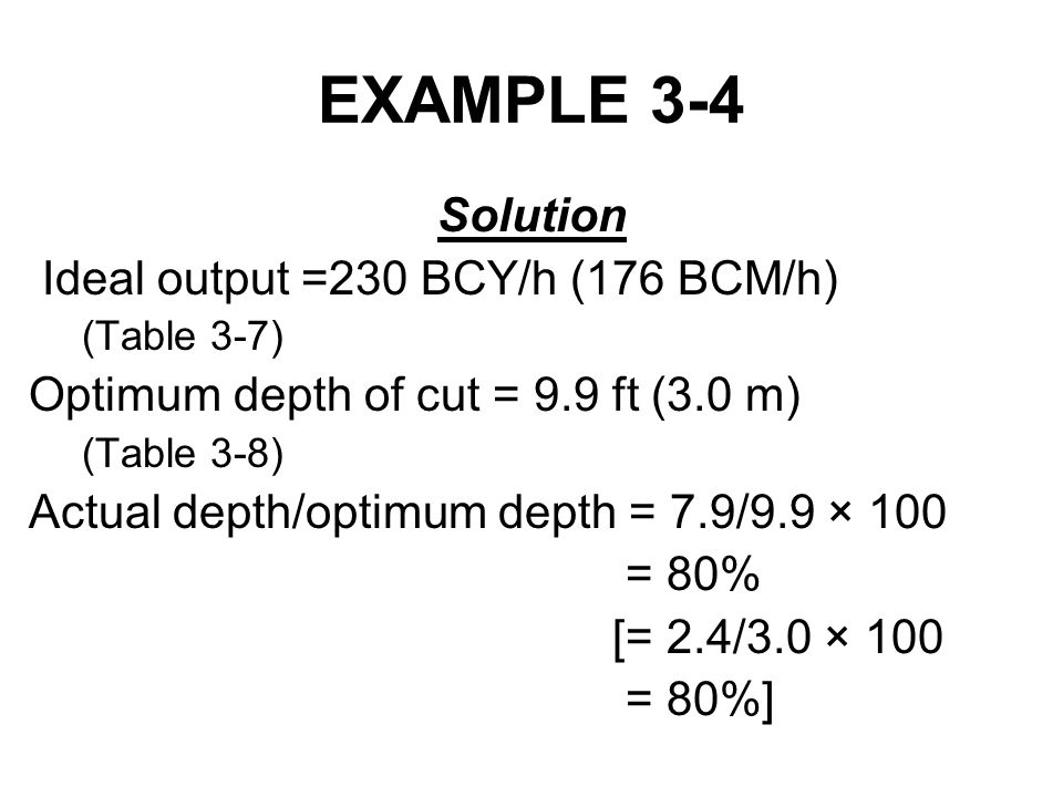 EXAMPLE 3-4 Solution Ideal output =230 BCY/h (176 BCM/h) (Table 3-7) Optimum depth of cut = 9.9 ft (3.0 m) (Table 3-8) Actual depth/optimum depth = 7.