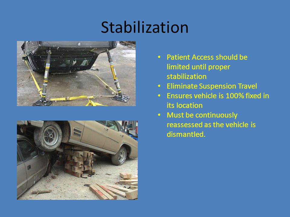 Stabilization Patient Access should be limited until proper stabilization Eliminate Suspension Travel Ensures vehicle is 100% fixed in its location Mu