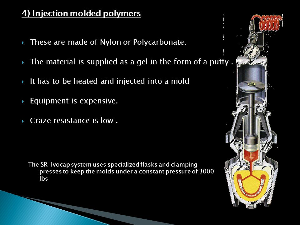 4) Injection molded polymers  These are made of Nylon or Polycarbonate.  The material is supplied as a gel in the form of a putty.  It has to be he