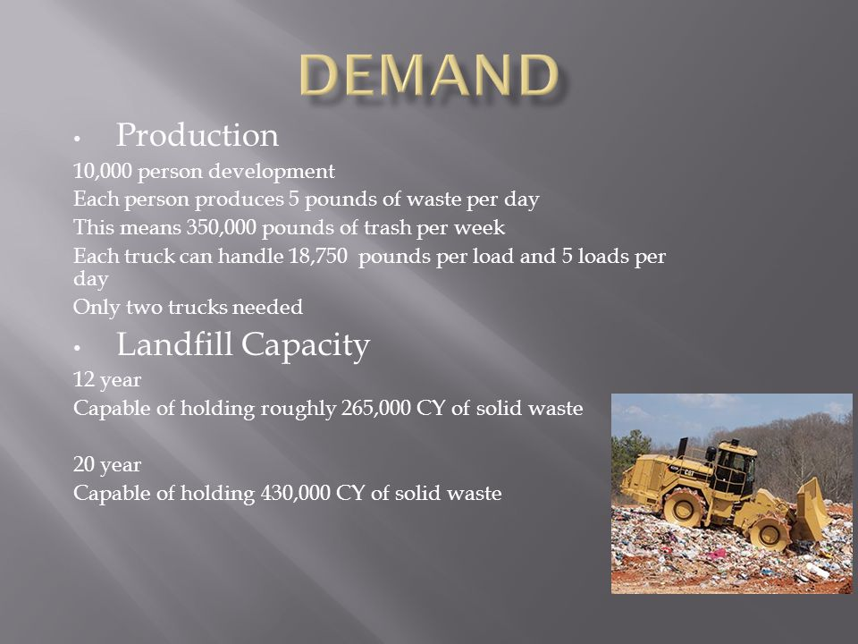 Production 10,000 person development Each person produces 5 pounds of waste per day This means 350,000 pounds of trash per week Each truck can handle 18,750 pounds per load and 5 loads per day Only two trucks needed Landfill Capacity 12 year Capable of holding roughly 265,000 CY of solid waste 20 year Capable of holding 430,000 CY of solid waste