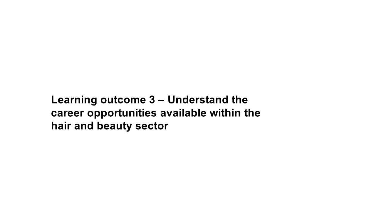 Learning outcome 3 – Understand the career opportunities available within the hair and beauty sector