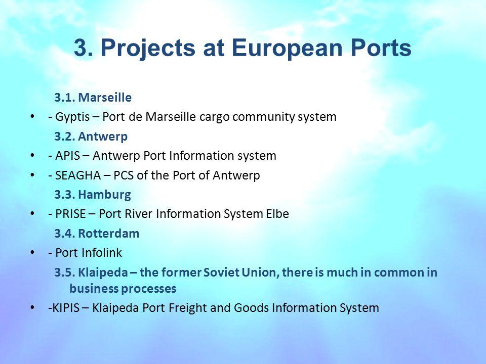 3. Projects at European Ports 3.1. Marseille - Gyptis – Port de Marseille cargo community system 3.2. Antwerp - APIS – Antwerp Port Information system