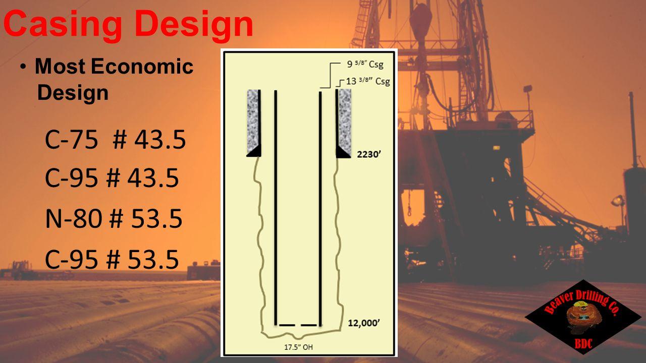 Casing Design C-95 # 53.5 C-75 # 43.5 N-80 # 53.5 C-95 # 43.5 Most Economic Design