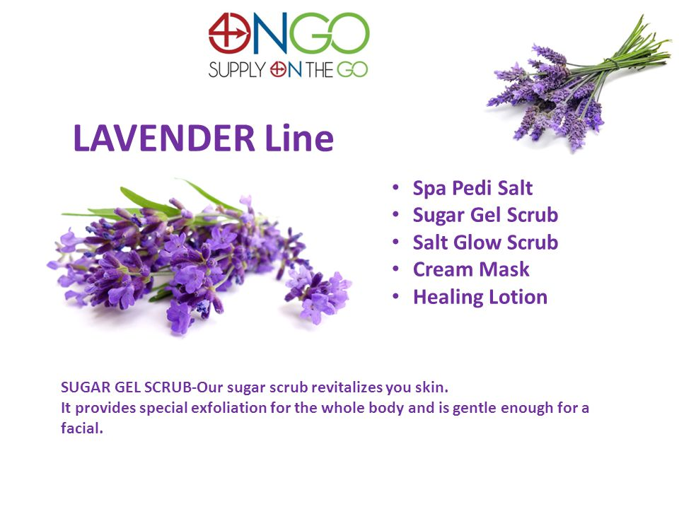 LAVENDER Line Spa Pedi Salt Sugar Gel Scrub Salt Glow Scrub Cream Mask Healing Lotion SUGAR GEL SCRUB-Our sugar scrub revitalizes you skin.