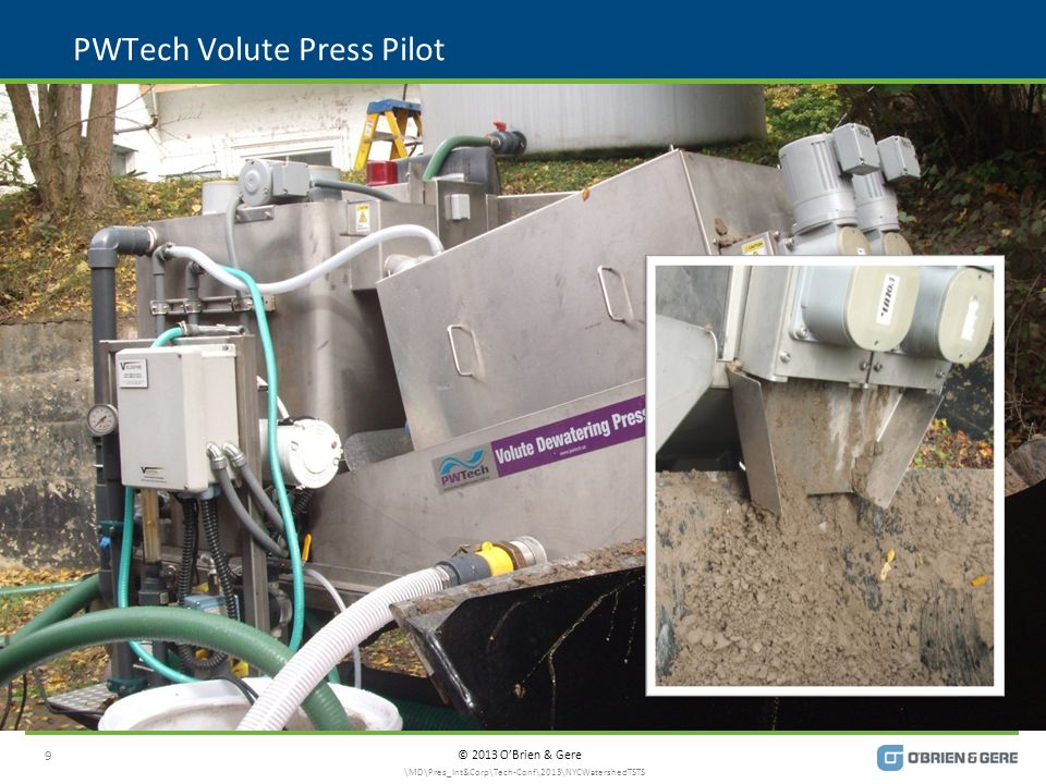 © 2013 O'Brien & Gere PWTech Volute Press Pilot 9 \MD\Pres_Int&Corp\Tech-Conf\2013\NYCWatershedTSTS