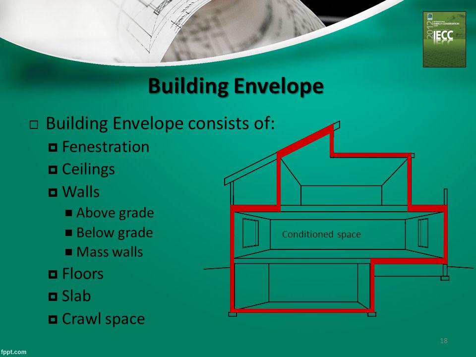 Building Envelope 18  Building Envelope consists of:  Fenestration  Ceilings  Walls Above grade Below grade Mass walls  Floors  Slab  Crawl spa