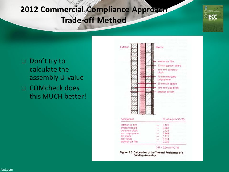 2012 Commercial Compliance Approach Trade-off Method  Don't try to calculate the assembly U-value  COMcheck does this MUCH better!