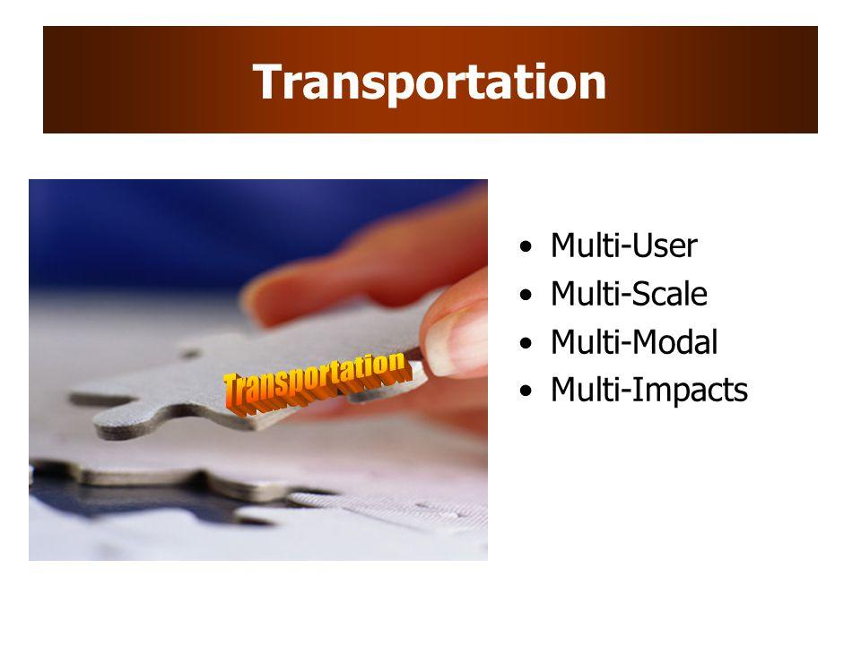 Transportation Multi-User Multi-Scale Multi-Modal Multi-Impacts
