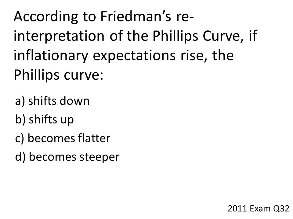 According to Friedman's re- interpretation of the Phillips Curve, if inflationary expectations rise, the Phillips curve: a) shifts down b) shifts up c