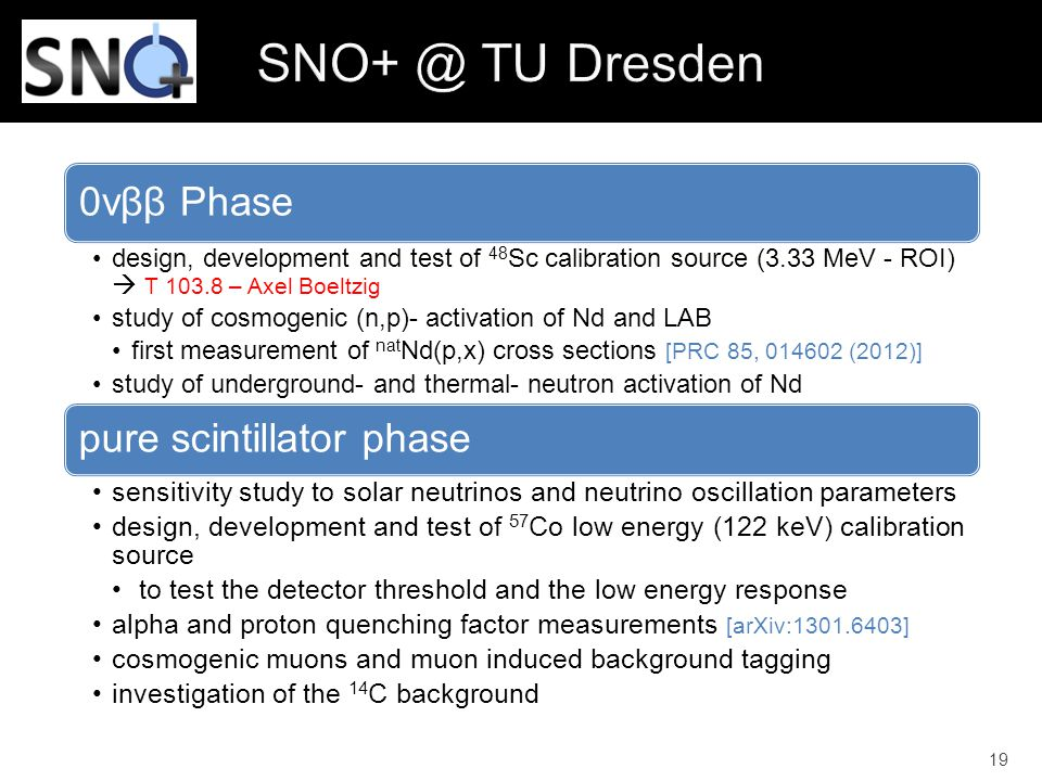0vββ Phase design, development and test of 48 Sc calibration source (3.33 MeV - ROI)  T 103.8 – Axel Boeltzig study of cosmogenic (n,p)- activation o