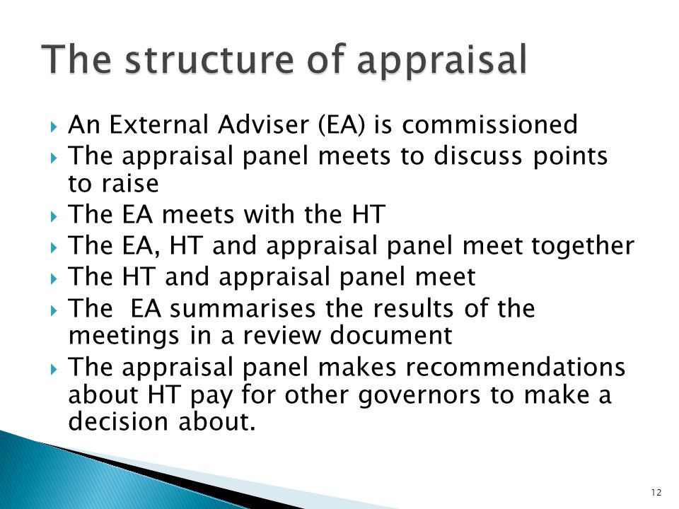  An External Adviser (EA) is commissioned  The appraisal panel meets to discuss points to raise  The EA meets with the HT  The EA, HT and appraisal panel meet together  The HT and appraisal panel meet  The EA summarises the results of the meetings in a review document  The appraisal panel makes recommendations about HT pay for other governors to make a decision about.