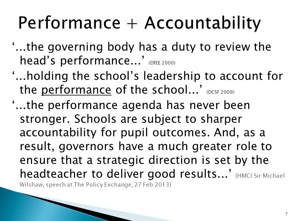 '...the governing body has a duty to review the head's performance...' (DfEE 2000) '...holding the school's leadership to account for the performance of the school...' (DCSF 2009) '...the performance agenda has never been stronger.