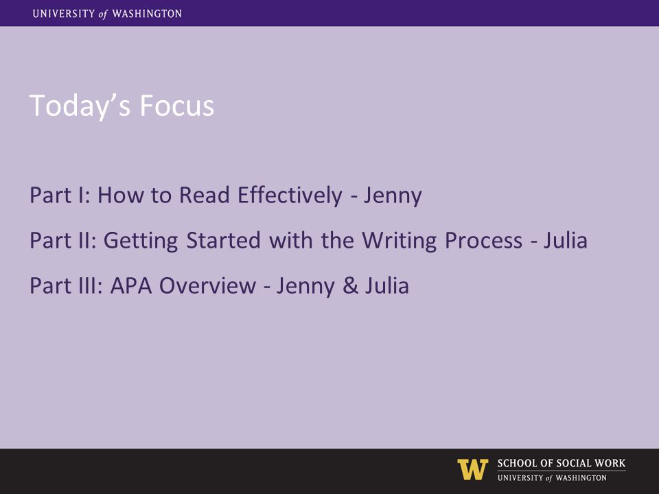 Today's Focus Part I: How to Read Effectively - Jenny Part II: Getting Started with the Writing Process - Julia Part III: APA Overview - Jenny & Julia