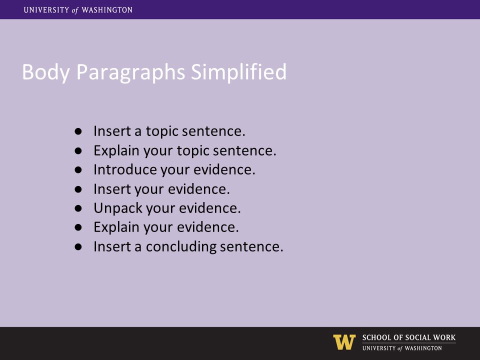 Body Paragraphs Simplified ●Insert a topic sentence.