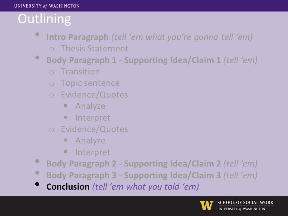 Outlining Intro Paragraph (tell 'em what you're gonna tell 'em) o Thesis Statement Body Paragraph 1 - Supporting Idea/Claim 1 (tell 'em) o Transition