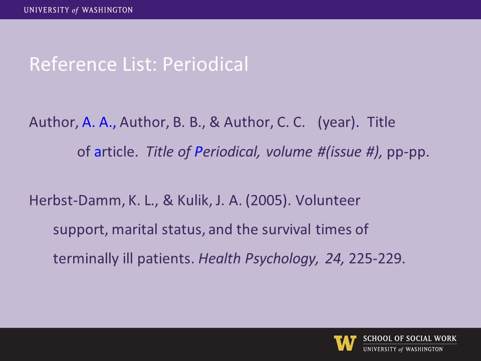 Reference List: Periodical Author, A. A., Author, B. B., & Author, C. C.(year). Title of article. Title of Periodical, volume #(issue #), pp-pp. Herbs