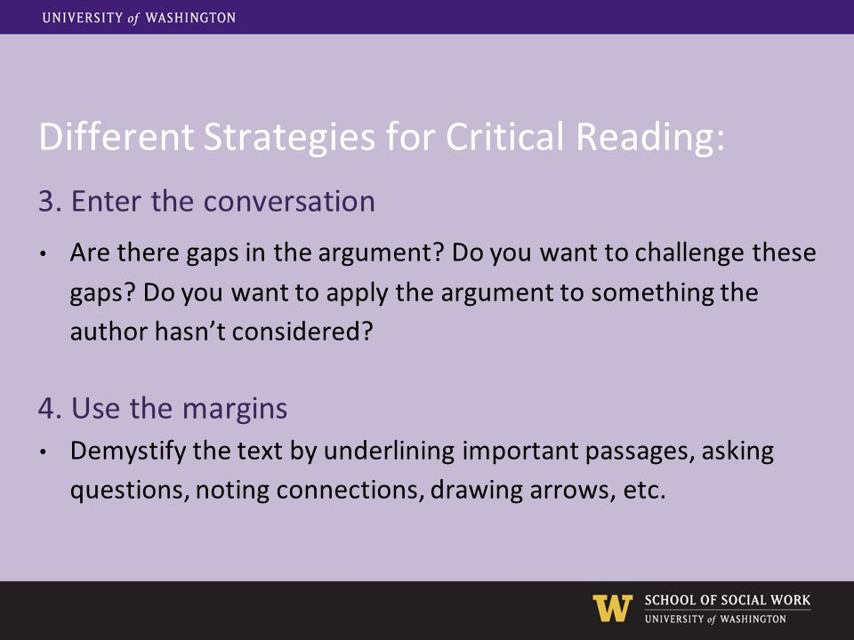 Different Strategies for Critical Reading: 3.