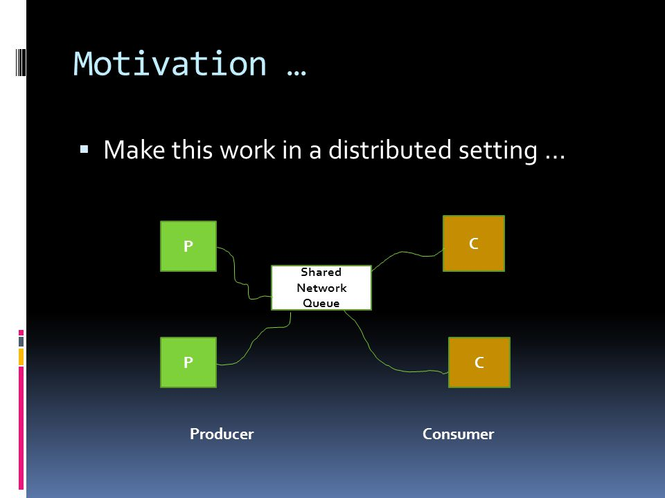 Motivation …  Make this work in a distributed setting … P P C C Shared Network Queue ProducerConsumer