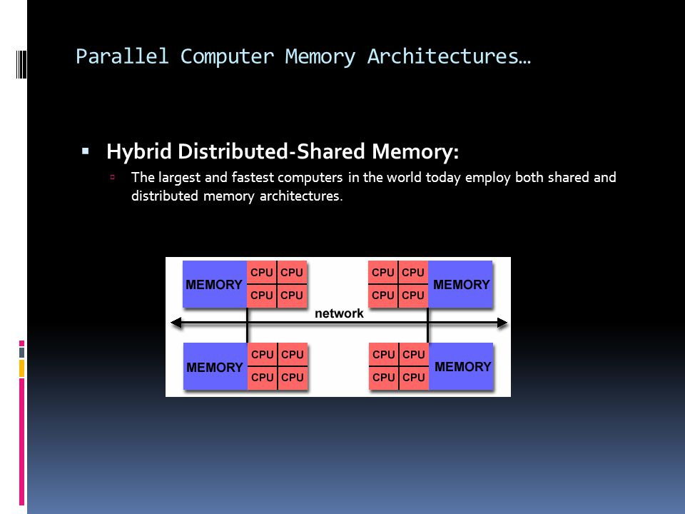 Parallel Computer Memory Architectures…  Hybrid Distributed-Shared Memory:  The largest and fastest computers in the world today employ both shared and distributed memory architectures.