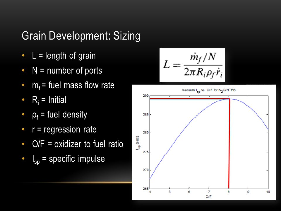 Grain Development: Sizing L = length of grain N = number of ports m f = fuel mass flow rate R i = Initial ρ f = fuel density r = regression rate O/F =