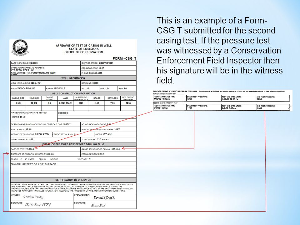 This is an example of a Form- CSG T submitted for the second casing test.