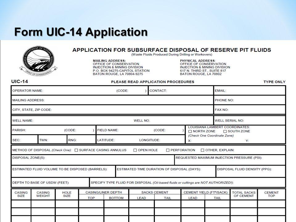 Form UIC-14 Application