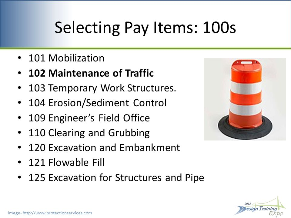 Selecting Pay Items: 600s 603 General Requirements 608 Guaranties 611 Acceptance 620 Signal Installation Grounding 630 Conduit 632 Signal And Interconnect Cable 634 Span Wire Assembly 635 Pull and Junction Boxes 639 Electrical Power 641 Prestressed Concrete Poles 649 Steel Strain Poles, Mast Arms, Monotube Assemblies 650 Vehicular Signal Assemblies 653 Pedestrian Signal Assemblies 659 Signal Head Retrofit Auxiliaries 660 Inductive Loop Detectors 665 Pedestrian Detector Assembly 670 Traffic Controller Assembly 671 Traffic Controllers 676 Controller Cabinets 678 Controller Accessories 690 Removal of Existing Traffic Signal Equipment 699 Internally Illuminated Signs
