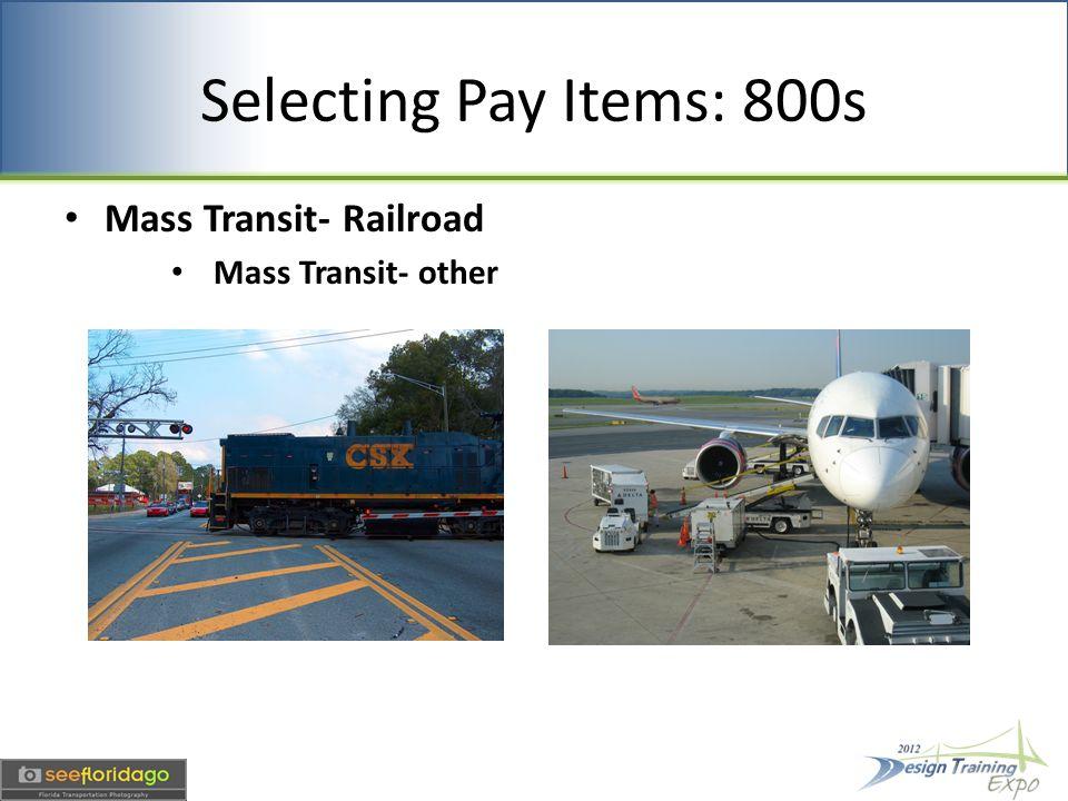 Selecting Pay Items: 800s Mass Transit- Railroad Mass Transit- other