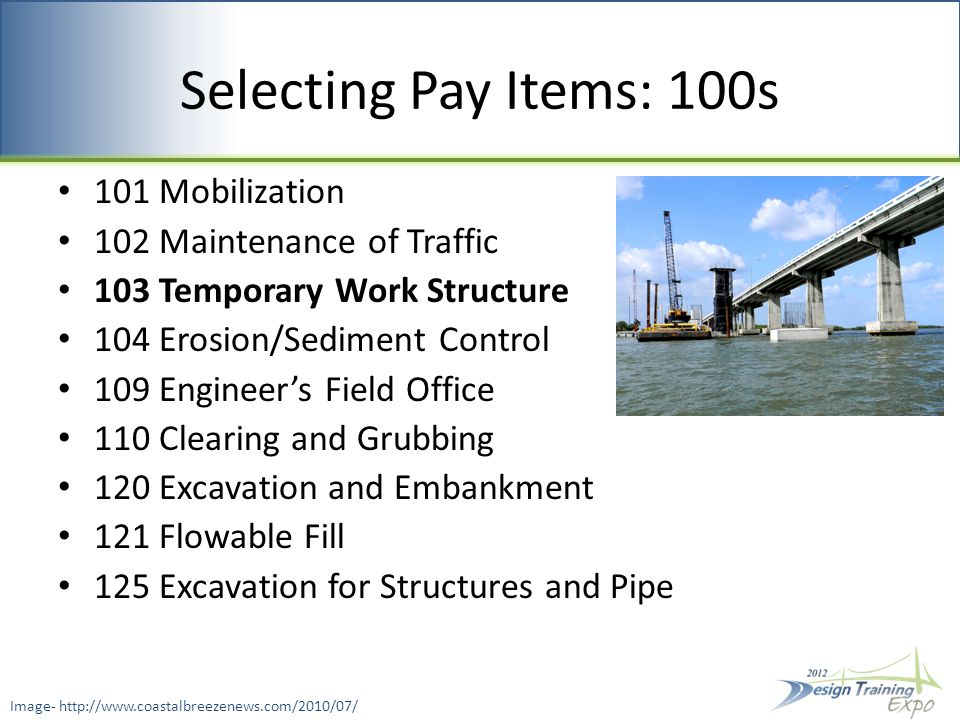 Selecting Pay Items: 200s 204 Graded Aggregate Base 210 Reworking Limerock Base 285 Optional Base 286 Turnout Construction 287 Asphalt Treated Permeable Base 288 Cement Treated Permeable Base Index 287 & 288