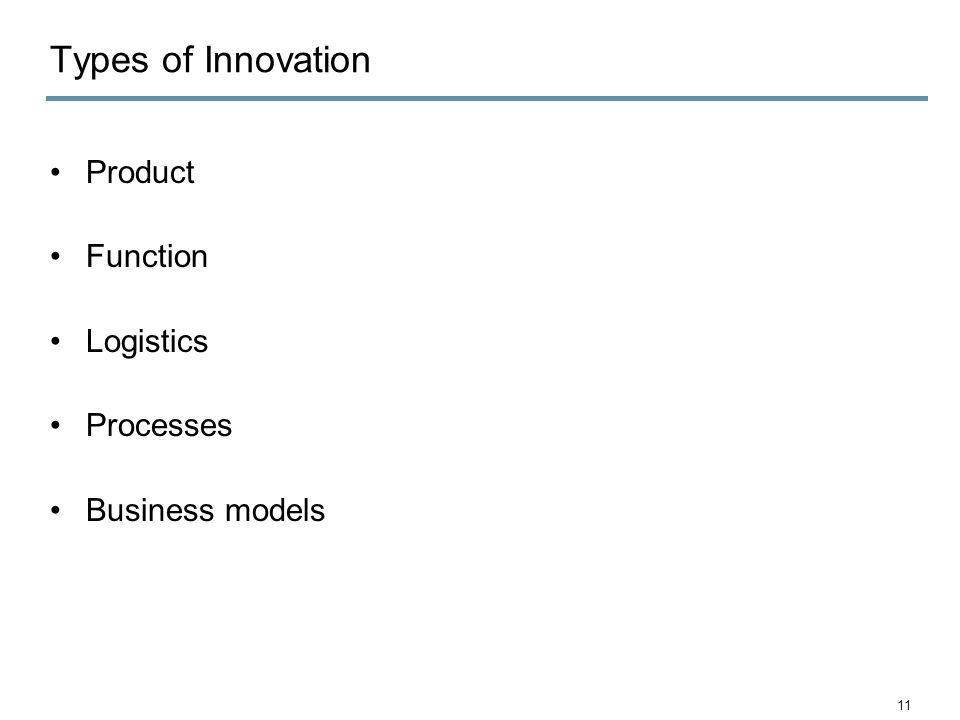 Types of Innovation Product Function Logistics Processes Business models 11