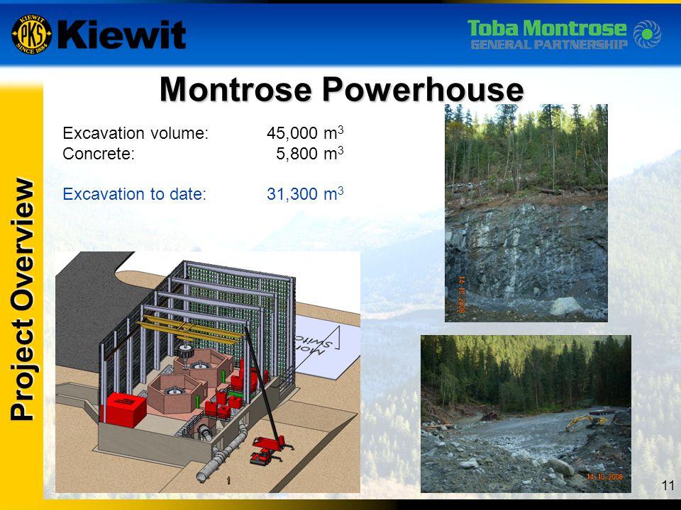 11 Montrose Powerhouse Project Overview Excavation volume:45,000 m 3 Concrete: 5,800 m 3 Excavation to date:31,300 m 3