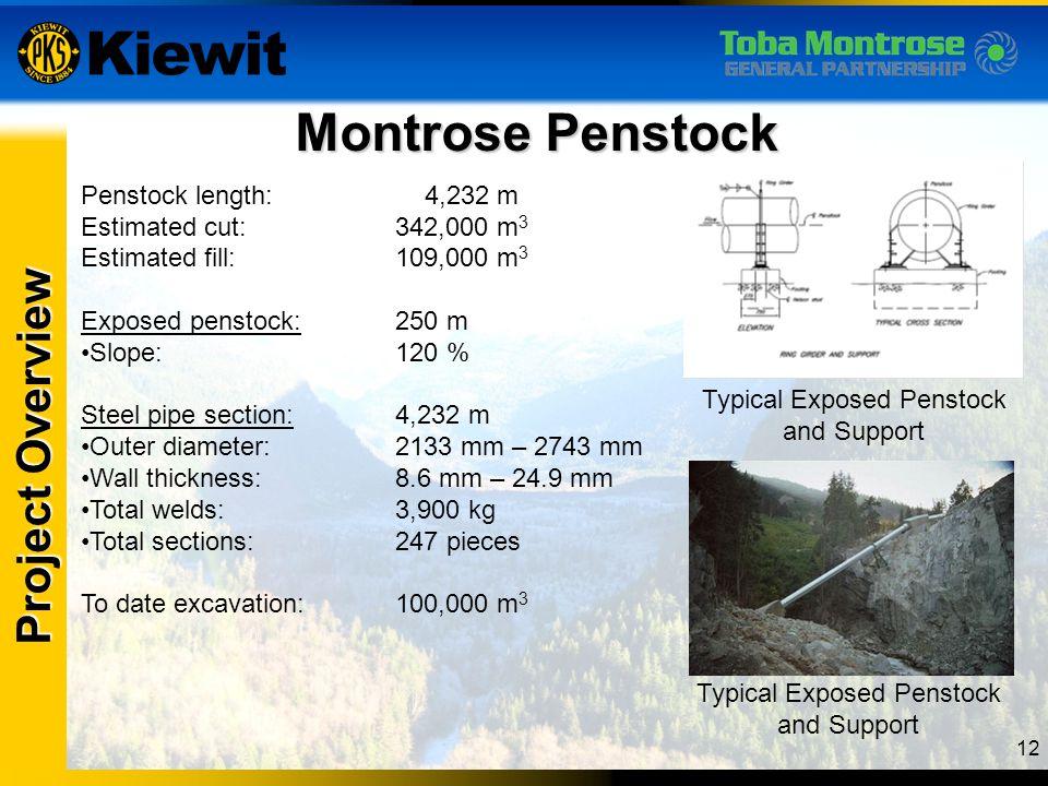 12 Montrose Penstock Project Overview Penstock length: 4,232 m Estimated cut:342,000 m 3 Estimated fill:109,000 m 3 Exposed penstock:250 m Slope:120 %
