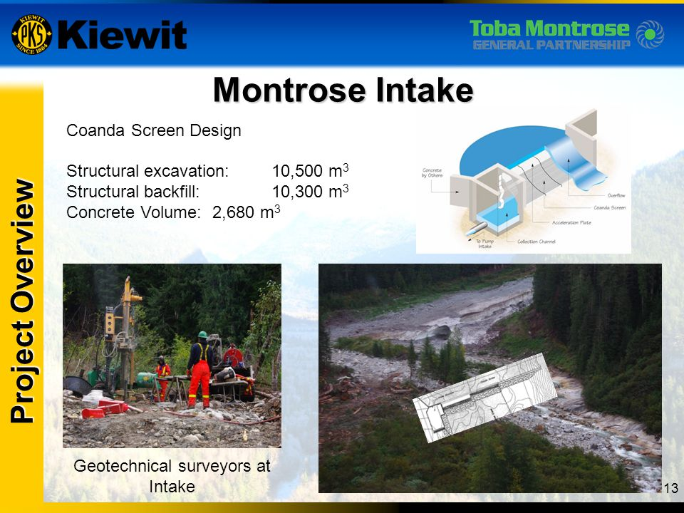 13 Montrose Intake Project Overview Coanda Screen Design Structural excavation:10,500 m 3 Structural backfill:10,300 m 3 Concrete Volume: 2,680 m 3 Ge