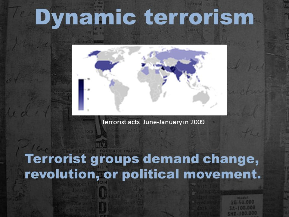 Dynamic terrorism Terrorist groups demand change, revolution, or political movement.