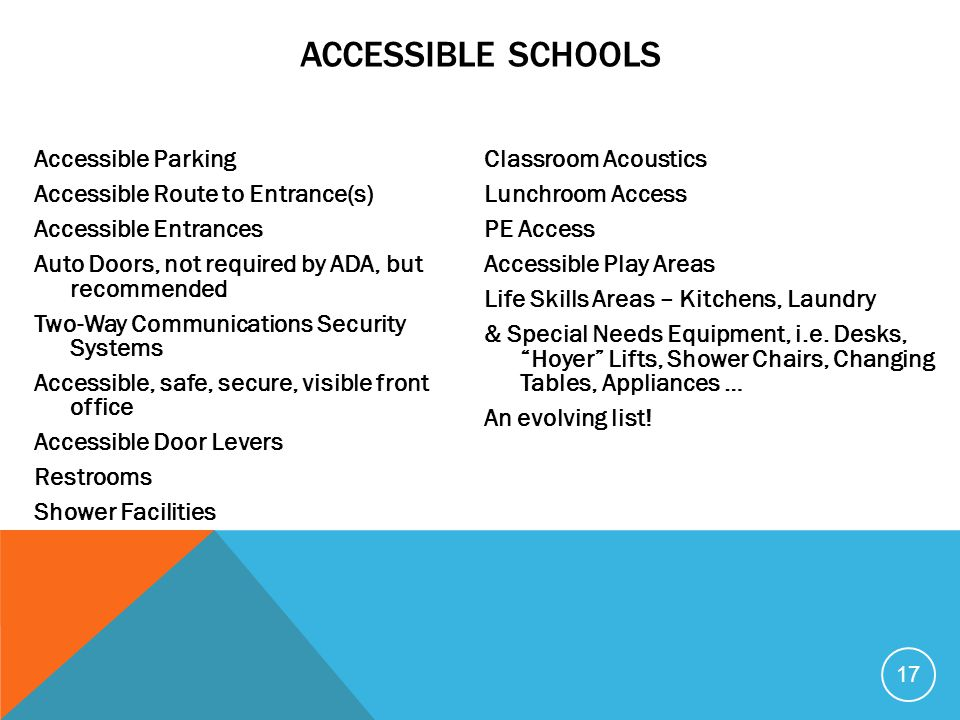 ACCESSIBLE SCHOOLS Accessible Parking Accessible Route to Entrance(s) Accessible Entrances Auto Doors, not required by ADA, but recommended Two-Way Co