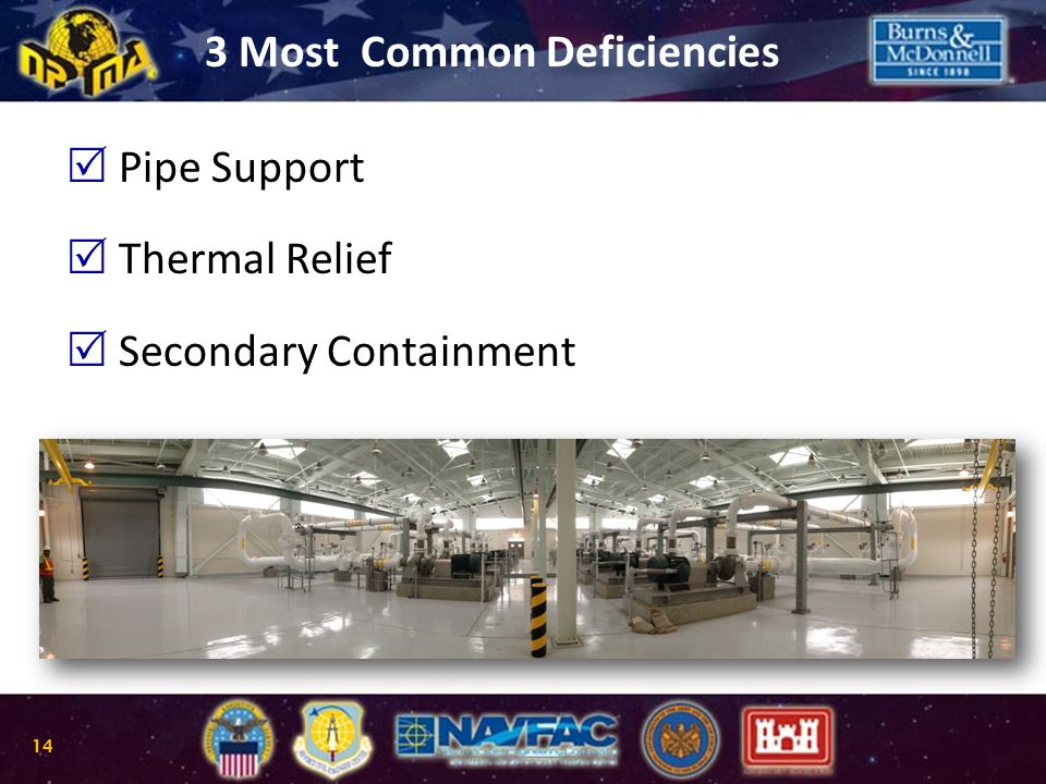   Pipe Support   Thermal Relief   Secondary Containment 3 Most Common Deficiencies 14
