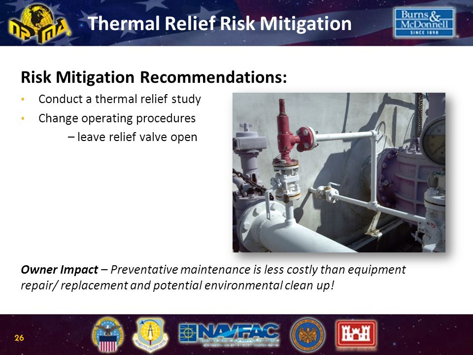Risk Mitigation Recommendations: Conduct a thermal relief study Change operating procedures – leave relief valve open Owner Impact – Preventative main