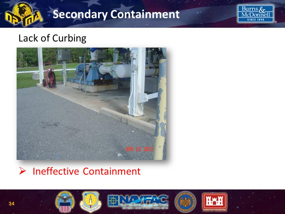 Lack of Curbing   Ineffective Containment Secondary Containment 34
