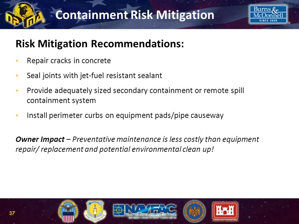 Risk Mitigation Recommendations: Repair cracks in concrete Seal joints with jet-fuel resistant sealant Provide adequately sized secondary containment