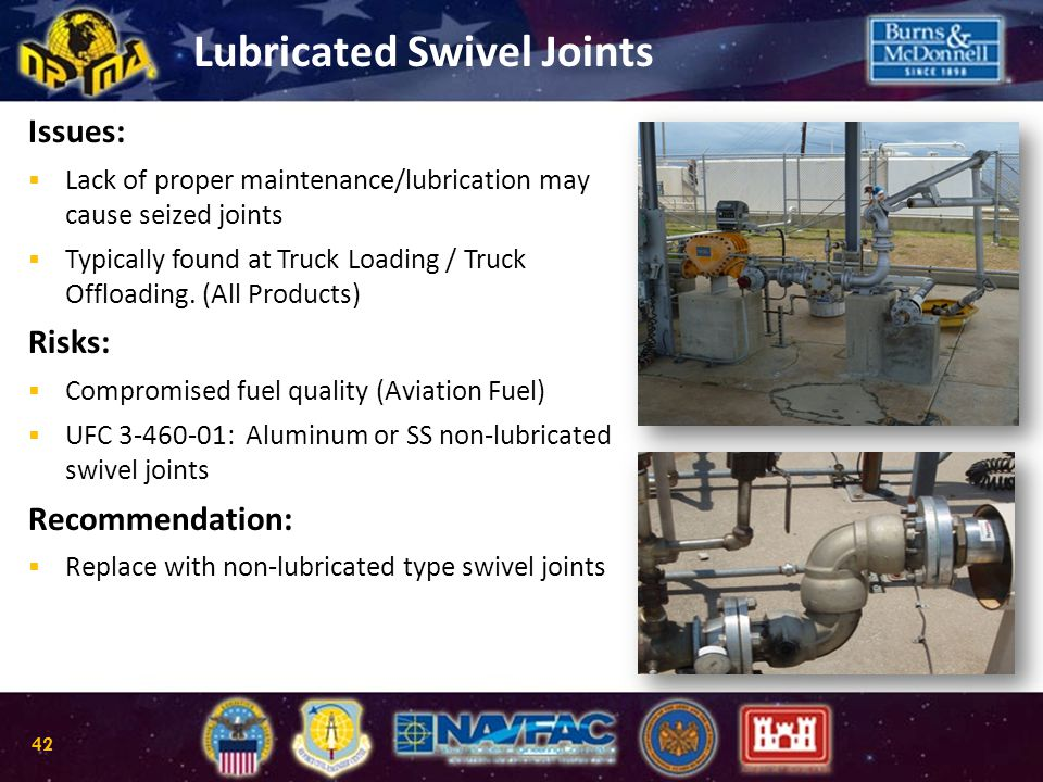 Lubricated Swivel Joints Issues:  Lack of proper maintenance/lubrication may cause seized joints  Typically found at Truck Loading / Truck Offloadin