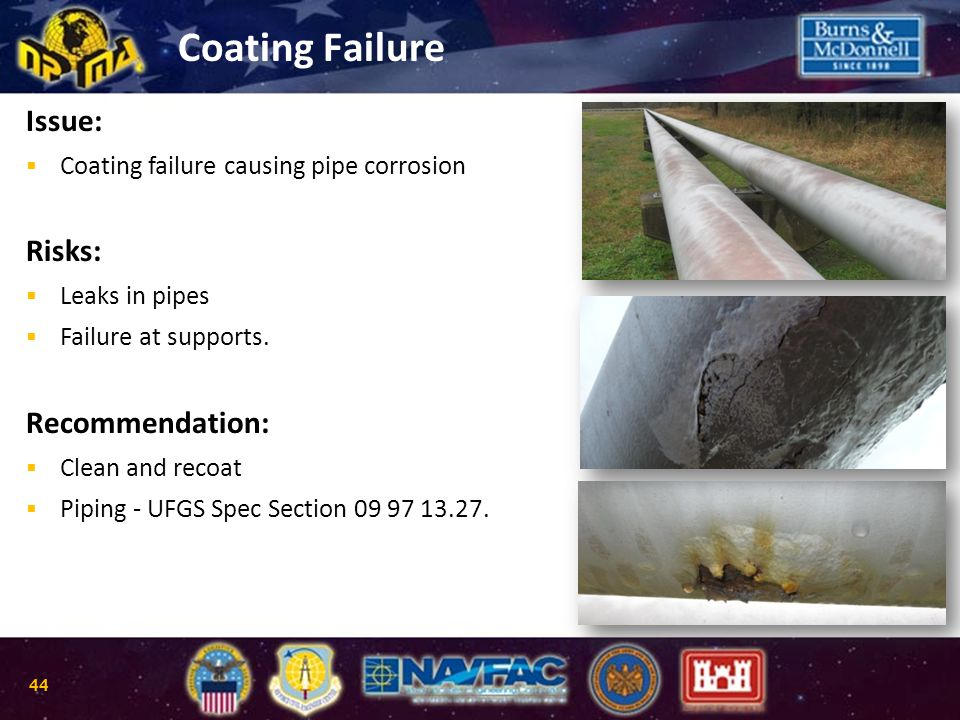 Coating Failure Issue:  Coating failure causing pipe corrosion Risks:  Leaks in pipes  Failure at supports. Recommendation:  Clean and recoat  Pi