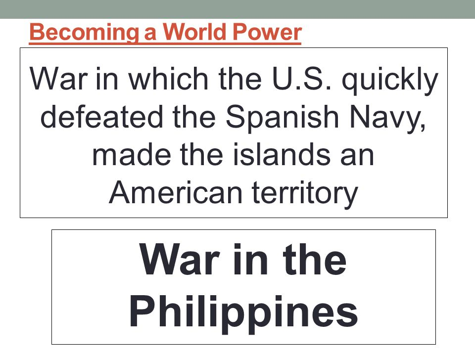 Becoming a World Power War in which the U.S.