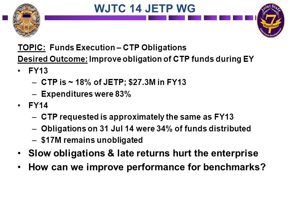 WJTC 14 JETP WG TOPIC: Funds Execution – CTP Obligations Desired Outcome: Improve obligation of CTP funds during EY FY13 –CTP is ~ 18% of JETP; $27.3M
