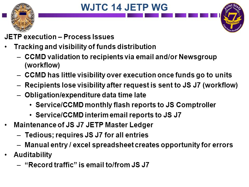 JETP execution – Process Issues Tracking and visibility of funds distribution –CCMD validation to recipients via email and/or Newsgroup (workflow) –CC