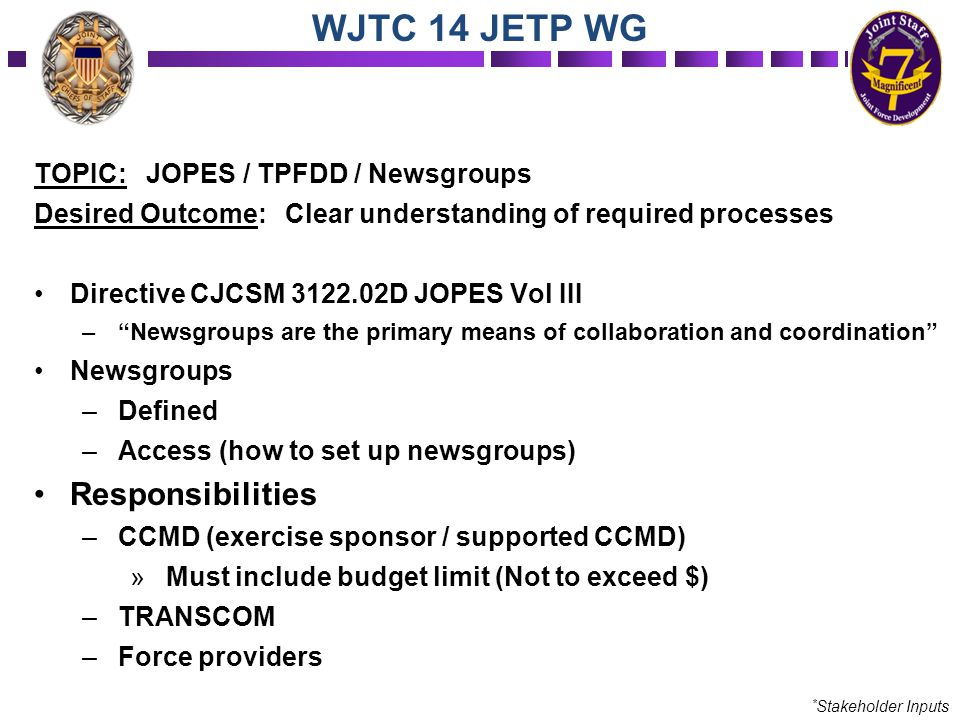 "TOPIC: JOPES / TPFDD / Newsgroups Desired Outcome: Clear understanding of required processes Directive CJCSM 3122.02D JOPES Vol III –""Newsgroups are t"