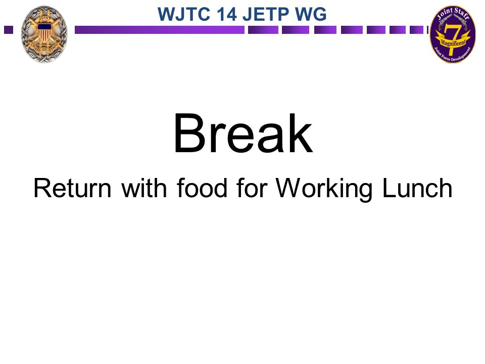 Break Return with food for Working Lunch