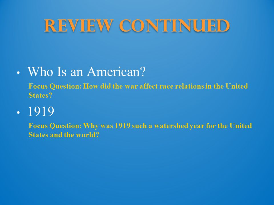 Review Continued Who Is an American.
