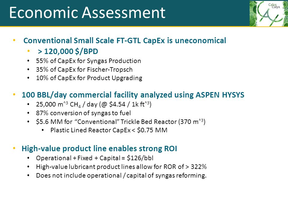 Economic Assessment Conventional Small Scale FT-GTL CapEx is uneconomical > 120,000 $/BPD 55% of CapEx for Syngas Production 35% of CapEx for Fischer-