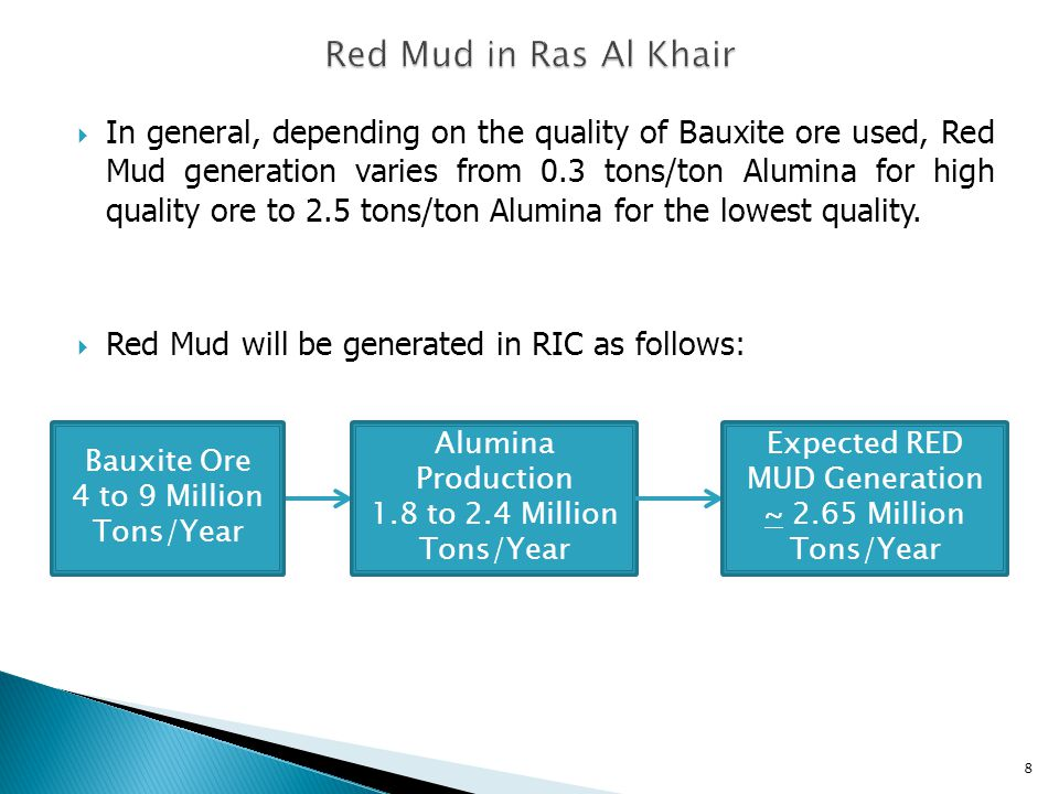  In general, depending on the quality of Bauxite ore used, Red Mud generation varies from 0.3 tons/ton Alumina for high quality ore to 2.5 tons/ton Alumina for the lowest quality.